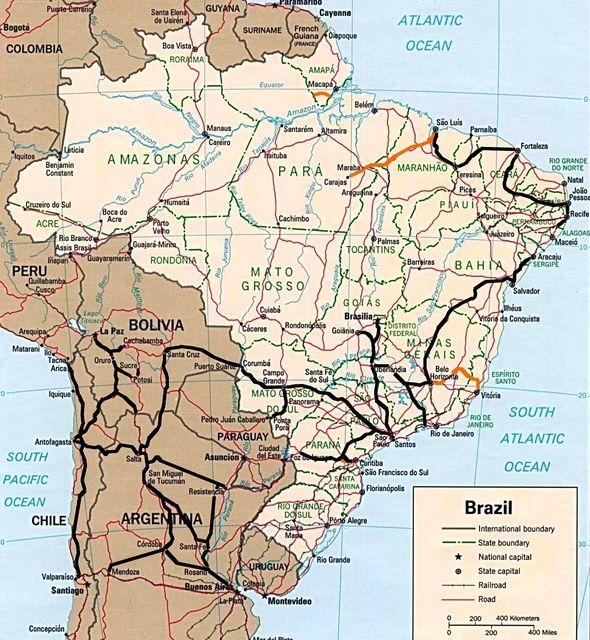 Carte Routiere Bresil Nordeste.Chemins De Fer D Europe Et Du Monde